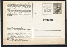 FAL14 - AUTRICHE CARTE POSTALE DEMANDE D'ENREGISTREMENT D'ADRESSE NEUVE  MICHEL AAK10 - Stamped Stationery