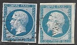 France 1854  Sc#15, 15b  20c Napoleon III, Imperf Color Varieties Used 2016 Scott Value $14 - 1853-1860 Napoleon III