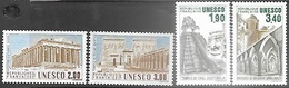 France UNESCO 1986-7  Sc#2o37-40 Sets Officials MNH 2016 Scott Value $5.25 - Service