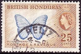 BRITISH HONDURAS 1953QEII 25c Bright Blue & Yellow-Brown SG186Fine Used - British Honduras (...-1970)