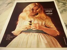 ANCIENNE PUBLICITE ARPEGE  PARFUM  LANVIN  1963 - Perfume & Beauty
