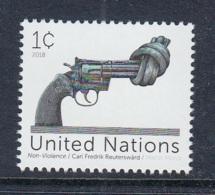 9.- UNITED NATIONS 2018 NEW YORK OFFICE - DEFINITIVE STAMP - The Knotted Gun – Non Violence - New York - Sede De La Organización De Las NU