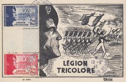 Carte  Maximum   FRANCE   Triptyque    LEGION  TRICOLORE     LYON   1943 - 1940-49