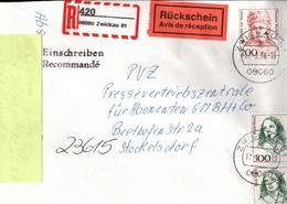 ! 2 Einschreiben Mit Rückschein 1994,1997, Dabei 1x  Mit Selbstklebe R-Zettel  Aus Zwickau, 08060, 08066 - BRD