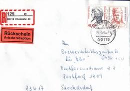 ! 5 Einschreiben Mit Rückschein 1994-1997  Dabei 2x Selbstklebe R-Zettel  Aus Chemnitz, 09111, 09119, 09127, 09130 - BRD