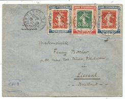 SEMEUSE 10CX2+5C PORTE TIMBRE X3 HANS STEIGERWALD VINS SPIRITUEUX LIBOURNE LETTRE LIBOURNE 11.9.1909 POUR SUISSE RARE - 1906-38 Semeuse Camée