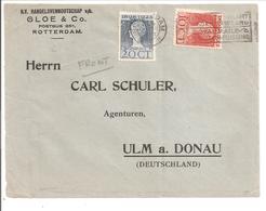 1923 Jubileum 10 +20 Cent N.V.P.H.124 + 125. Rotterdam . 2e Gewicht.BRIEFVOORZIJDE - Covers & Documents