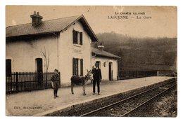 CPA   19      LAGUENNE     1923       LA GARE        PETIT ANE SUR LE QUAI - Stazioni Senza Treni