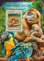 Sierra Leone 2016 Fauna  Endangered Species Pangolin , Monkey ,parrot - Sierra Leone (1961-...)