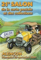 61- Alençon -  21 Eme Salon De La Carte Postale Et Des Collections 2001  (expo : Tintin ) - Bourses & Salons De Collections