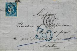Juillet 71 Lettre De Rouen ( Seine M Cad  T17 Affr. N°46   + Taxe Dt 30 BLEU Française Utilisée Par Les Allemands à Metz - Marcophilie (Lettres)