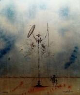Don Quixote  Colour Print On 50g 996 Silver Plate - Lithographien