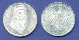 Bundesrepublik 5DM Silber-Gedenkmünze 1968, Johannes Gutenberg - [ 7] 1949-… : FRG - Fed. Rep. Germany