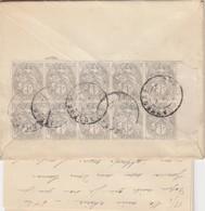 SPECTACULAIRE AFFRANCHISSEMENT  1c BLANC BLOC X 10. BORD  DE FEUILLE.  18 10 1912 + CORRESPONDANCE / 943 - 1900-29 Blanc