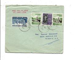 CEYLAN AFFRANCHISSEMENT COMPOSE SUR LETTRE POUR L'ALGERIE 1954 - Sri Lanka (Ceylan) (1948-...)