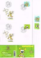 MARSUPILAMI : 2 Enveloppes Suisses, Carnet De 10 Timbres Neufs Et Deux Timbres Neufs. - Comics
