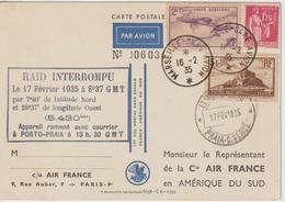 France 1935 1er Vol France Amérique Du Sud Par Codos-Rossi. Raid Interrompu Avec Lettre Air France - Postmark Collection (Covers)