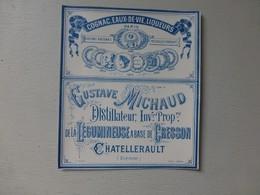 Châtellerault, G. Michaud, Distillateur Alccol De CRESSON !!! étiquette PUB Bleue  ; Ref315 ; PAP04 - Werbung