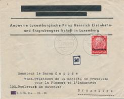 407/29 - Entete Chemin De Fer Prinz Heinrich - Enveloppe TP Hindenburg LUXEMBURG 1 En 1940 Vers Bruxelles - 1940-1944 Occupation Allemande