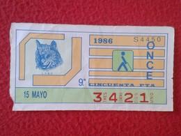 CUPÓN DE ONCE SPANISH LOTTERY LOTERIE SPAIN CIEGOS BLIND LOTERÍA ESPAÑA 1986 LOBO WOLF LOUP LUPO VER FOTO Y DESCRIPCIÓN - Billetes De Lotería