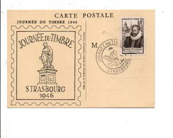 OBLITERATION JOURNEE DU TIMBRE 1946 STRASBOURG - Marcophilie (Lettres)