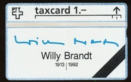 SCHWEIZ  Telefonkarte Willy Brandt -  Siehe Scan - - Schweiz