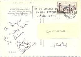 CHINON INDRE-ET-LOIRE OMec SECAP 22-5-1956 - 21-22 JUILLET 56 / CHINON FETERA / JEANNE D'ARC - Marcophilie (Lettres)