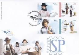 Portugal 2019 EURO Med Trajes Mediterrâneo Pastor Ceifeira Pescador Salineira Métiers Stamps Euromed Profissões - FDC