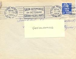 LE HAVRE PRINCIPAL SEINE INfre OMec RBV 7-10-1954 SALON AUTOMOBILE / EN OCTOBRE / GRAND PALAIS PARIS - Postmark Collection (Covers)
