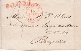 451DT - PAR ESTAFETTE - Lettre Précurseur ANVERS 1835 Vers BRUXELLES - Les Destinations Autres Que Paris Sont RARES - 1830-1849 (Belgique Indépendante)