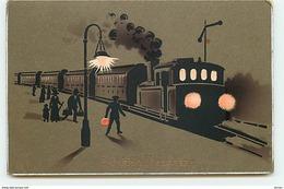 N°11777 - Carte Fantaisie - Gelukkig Nieuwjaar - Train En Gare - Nieuwjaar