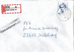 ! 35 Einschreiben, 21 X Rückschein 1993-97, R-Zettel Berlin, 10245,10249,10405,10783,12099,12169,12279,12439,12489,13593 - BRD