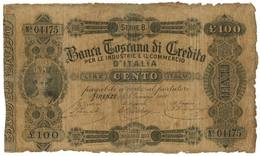 100 LIRE BANCA TOSCANA DI CREDITO FIRENZE II TIPO 02/01/1880 MB/BB - Altri