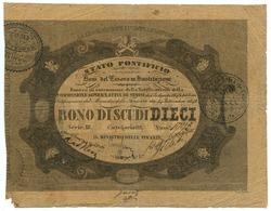 10 SCUDI STATO PONTIFICIO BONI DEL TESORO IN SOSTITUZIONE 24/09/1849 MB/BB - Altri