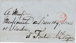 452DT - Lettre Précurseur TIRLEMONT 1843 Vers FONTAINE L' EVEQUE - Verso RARE Cachet Négatif SERVICE DES POSTES - 1830-1849 (Belgique Indépendante)