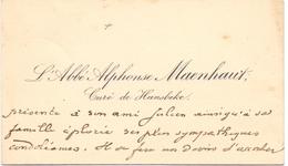 Visitekaartje - Carte Visite - Pastoor - L'Abbé Alphonse Maenhout - Curé De Hansbeke - Cartes De Visite