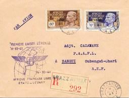 AEF : PREMIERE LIAISON AERIENNE AFRIQUE FRANCAISE LIBRE ETATS DU LEVANT AFFRANCHIE AVEC N° 111 ET 113 CACHET DU 8 NOV 41 - A.E.F. (1936-1958)