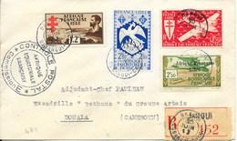 AEF : RECOMMANDE DE BANGUI POUR DOUALA CACHET CONTROLE POSTAL COMMISSION E AFFRANCHISSEMENT QUADRICOLORE - A.E.F. (1936-1958)