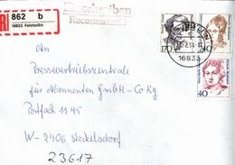 ! 1 Einschreiben ,1994, Selbstklebender R-Zettel  Aus Fehrbellin, 16833 - [7] Repubblica Federale