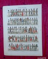 Planche 32 X 24 Cm- Gravure Issue D'un Ancien Larousse :COSTUME MILITAIRE - Illustrateur Henri CHARTIER - Imp. Draeger - History