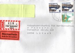 ! 2 Einschreiben ,1994, 1997 Mit Rückschein, R-Zettel  Aus Neubrandenburg, 17036 - BRD