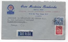 PORTUGAL - 1955 - ENVELOPPE PUB ILLUSTREE (AUTOMOBILE) De LISBOA => CLERMONT-FERRAND - 1910-... Republic