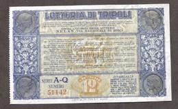 Biglietto Lotteria Di Tripoli - Serie A-Q - Anno 1934 - Biglietti Della Lotteria