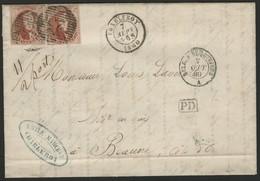 Belgique 1860 N° 12 (x2) Double Port De Charleroy Pour La France. Voir Description - 1858-1862 Medallions (9/12)