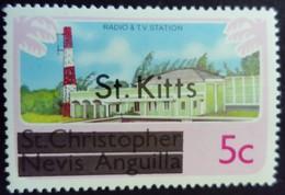 St Christopher Nevis Anguilla Surchargé Overprinted St. Kitts 1980 Television Radio Yvert 424 ** MNH - St.Kitts Und Nevis ( 1983-...)
