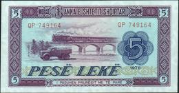 ALBANIA - 5 Lek 1976 {Banka E Shtetit Shqiptar} UNC P.42 - Albania