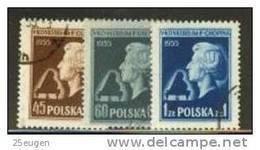 POLAND 1954 MICHEL 879-881 SET USED - Gebruikt