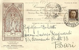 """4591 """"CORVAJA,BAZZI & COMP.i-STAB. PER LA DECORAZIONE ARTISTICA DI VETRI """"-CART. POST.ORIG. SPED 1935 - Commercio"""