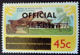 St Christopher Nevis Anguilla Surchargé Overprinted OFFICIAL St. Kitts 1980 Hotel Golf Yvert S14 ** MNH - St.Kitts En Nevis ( 1983-...)