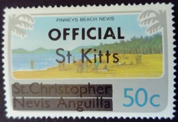 St Christopher Nevis Anguilla Surchargé Overprinted OFFICIAL St. Kitts 1980 Plage Beach Paysage Yvert S15 ** MNH - St.Kitts En Nevis ( 1983-...)